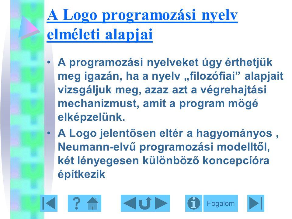 """A Logo programozási nyelv elméleti alapjai A programozási nyelveket úgy érthetjük meg igazán, ha a nyelv """"filozófiai"""" alapjait vizsgáljuk meg, azaz az"""
