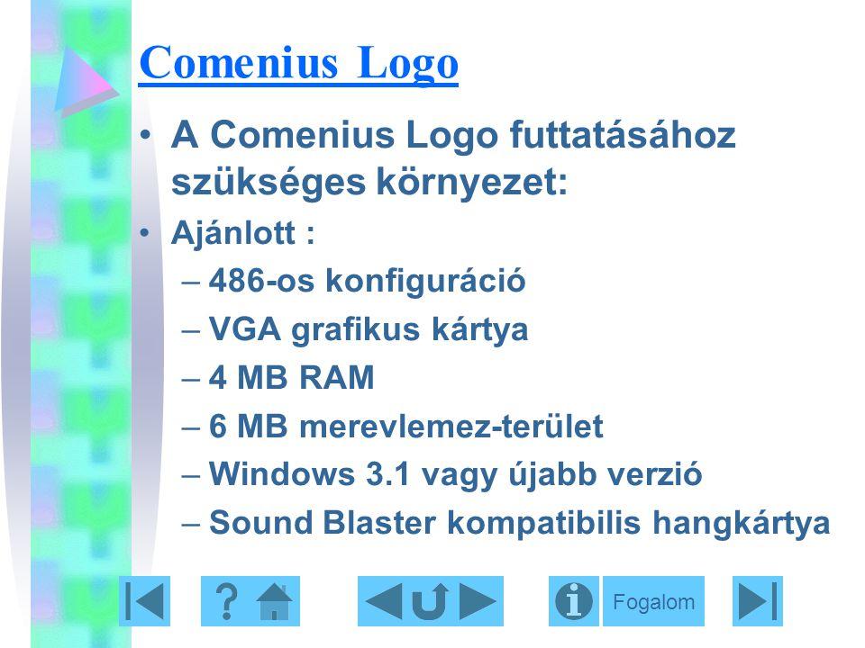 Comenius Logo A Comenius Logo futtatásához szükséges környezet: Ajánlott : –486-os konfiguráció –VGA grafikus kártya –4 MB RAM –6 MB merevlemez-terüle