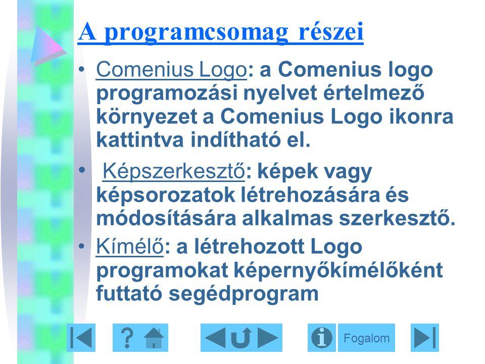 A programcsomag részei Comenius Logo: a Comenius logo programozási nyelvet értelmező környezet a Comenius Logo ikonra kattintva indítható el. Képszerk