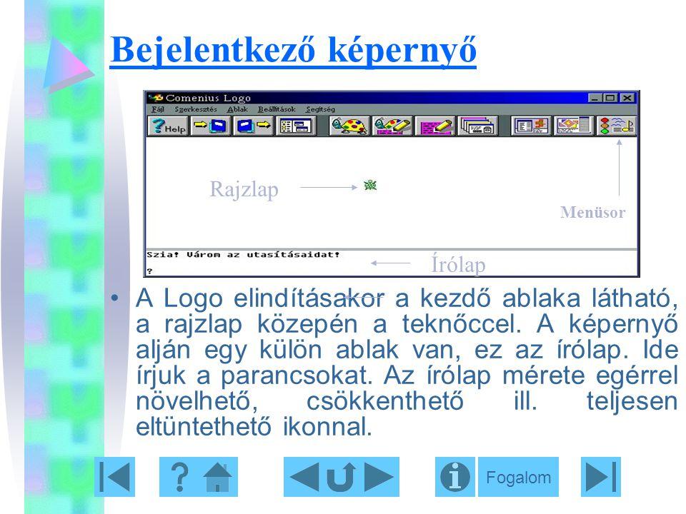 Bejelentkező képernyő A Logo elindításakor a kezdő ablaka látható, a rajzlap közepén a teknőccel. A képernyő alján egy külön ablak van, ez az írólap.
