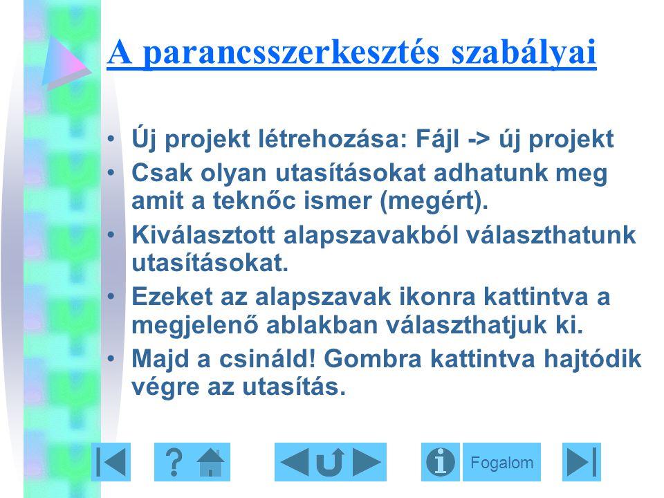 A parancsszerkesztés szabályai Új projekt létrehozása: Fájl -> új projekt Csak olyan utasításokat adhatunk meg amit a teknőc ismer (megért). Kiválaszt
