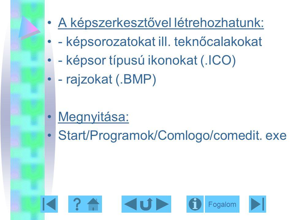 A képszerkesztővel létrehozhatunk: - képsorozatokat ill. teknőcalakokat - képsor típusú ikonokat (.ICO) - rajzokat (.BMP) Megnyitása: Start/Programok/