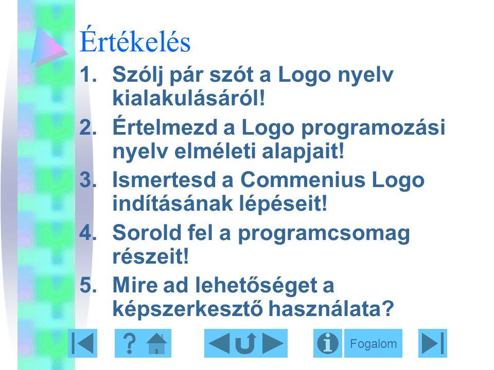 Értékelés 1.Szólj pár szót a Logo nyelv kialakulásáról! 2.Értelmezd a Logo programozási nyelv elméleti alapjait! 3.Ismertesd a Commenius Logo indításá