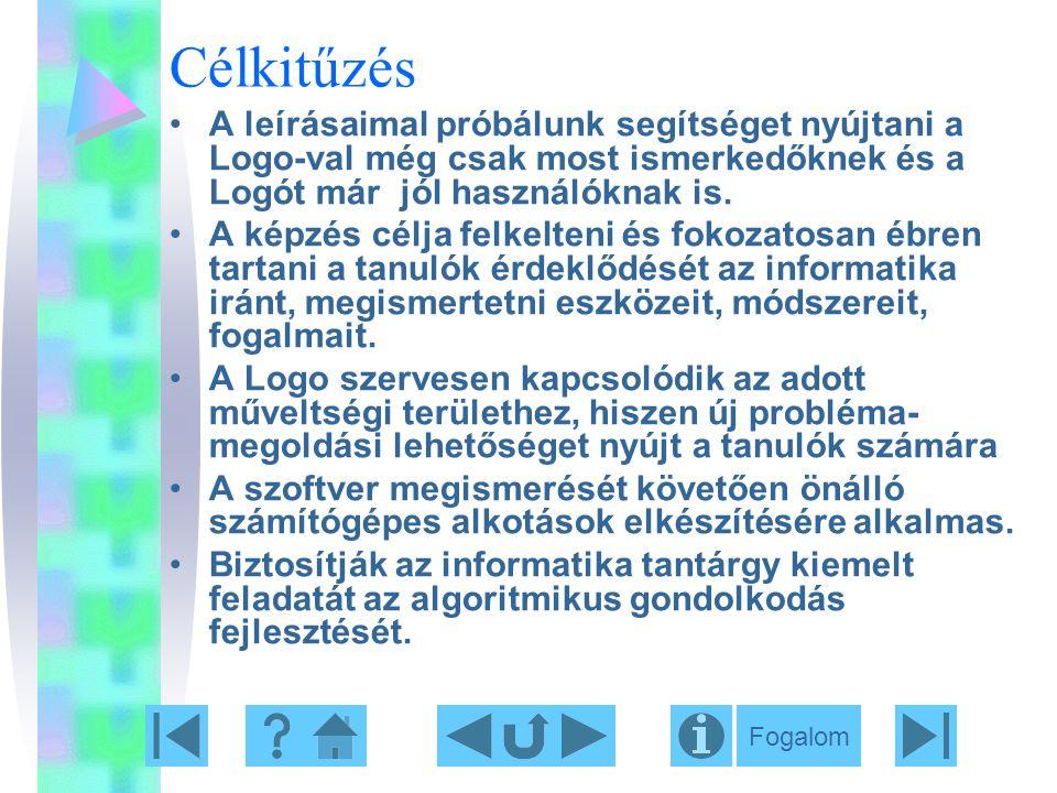 Célkitűzés A leírásaimal próbálunk segítséget nyújtani a Logo-val még csak most ismerkedőknek és a Logót már jól használóknak is. A képzés célja felke