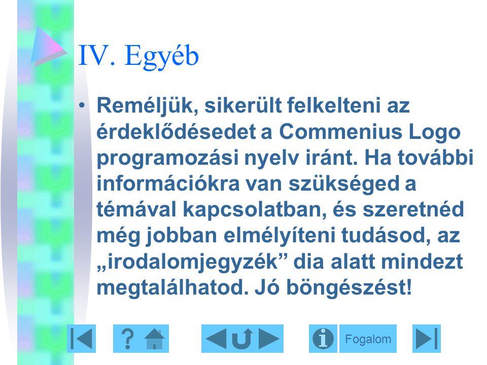 IV. Egyéb Reméljük, sikerült felkelteni az érdeklődésedet a Commenius Logo programozási nyelv iránt. Ha további információkra van szükséged a témával