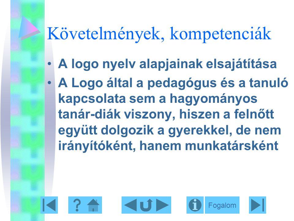 Követelmények, kompetenciák A logo nyelv alapjainak elsajátítása A Logo által a pedagógus és a tanuló kapcsolata sem a hagyományos tanár-diák viszony,