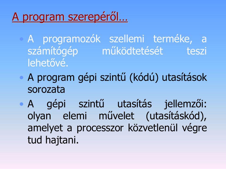 A program szerepéről… A programozók szellemi terméke, a számítógép működtetését teszi lehetővé. A program gépi szintű (kódú) utasítások sorozata A gép