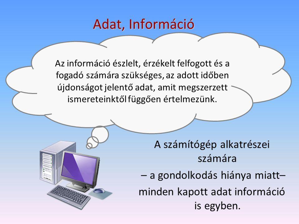 Adat, Információ A számítógép alkatrészei számára – a gondolkodás hiánya miatt– minden kapott adat információ is egyben. Az információ észlelt, érzéke