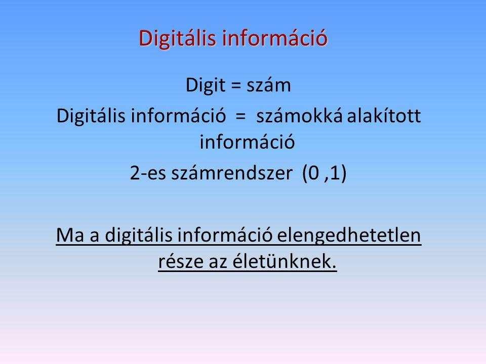 Digitális információ Digit = szám Digitális információ = számokká alakított információ 2-es számrendszer (0,1) Ma a digitális információ elengedhetetl