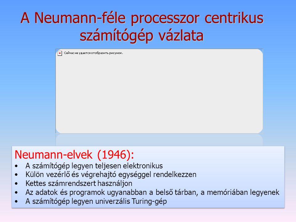 A Neumann-féle processzor centrikus számítógép vázlata Neumann-elvek (1946): A számítógép legyen teljesen elektronikus Külön vezérlő és végrehajtó egy