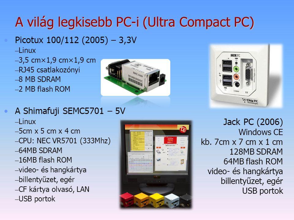 Picotux 100/112 (2005) – 3,3V – Linux – 3,5 cm×1,9 cm×1,9 cm – RJ45 csatlakozónyi – 8 MB SDRAM – 2 MB flash ROM A Shimafuji SEMC5701 – 5V – Linux – 5c