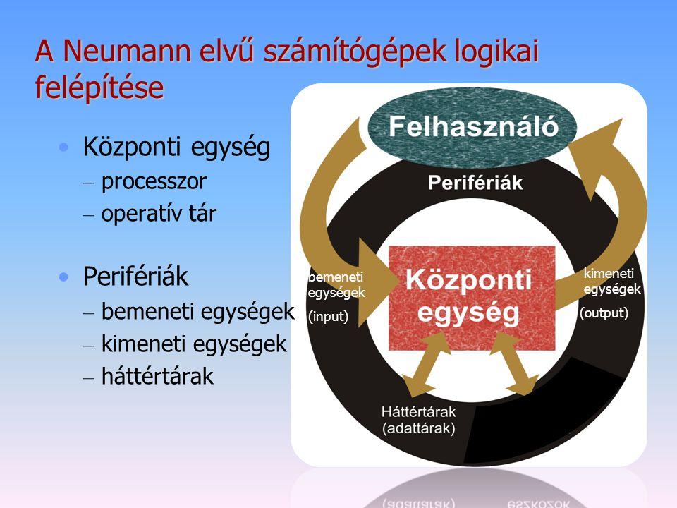 A Neumann elvű számítógépek logikai felépítése Központi egység – processzor – operatív tár Perifériák – bemeneti egységek – kimeneti egységek – háttér
