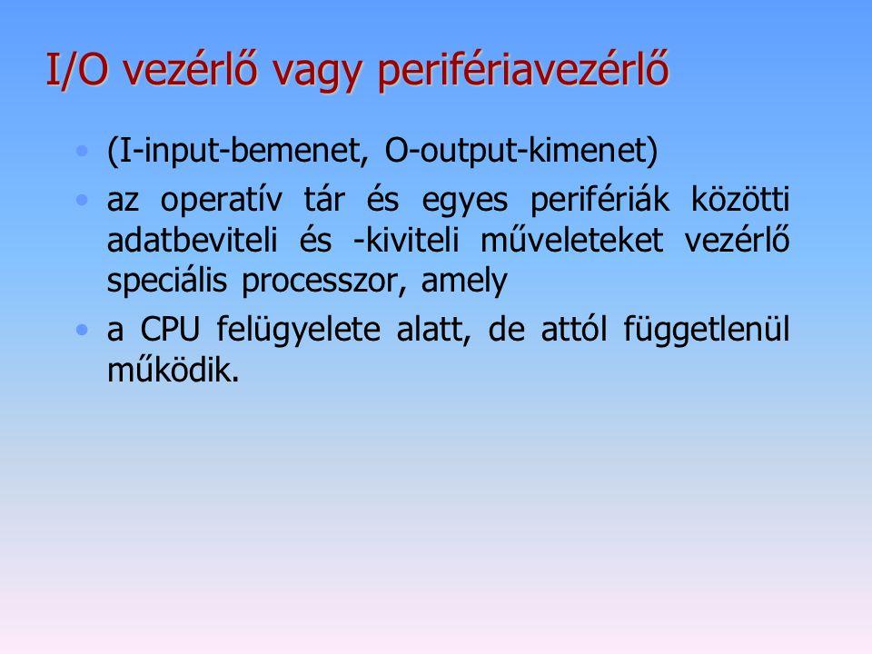 I/O vezérlő vagy perifériavezérlő (I-input-bemenet, O-output-kimenet) az operatív tár és egyes perifériák közötti adatbeviteli és -kiviteli műveleteke