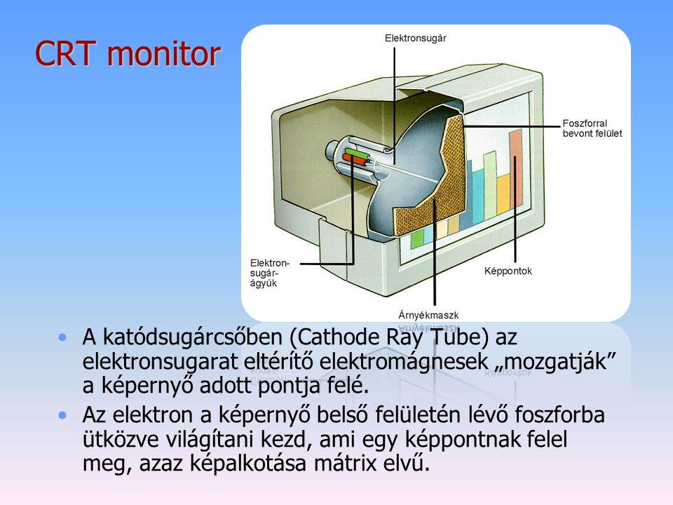 """CRT monitor A katódsugárcsőben (Cathode Ray Tube) az elektronsugarat eltérítő elektromágnesek """"mozgatják"""" a képernyő adott pontja felé. Az elektron a"""