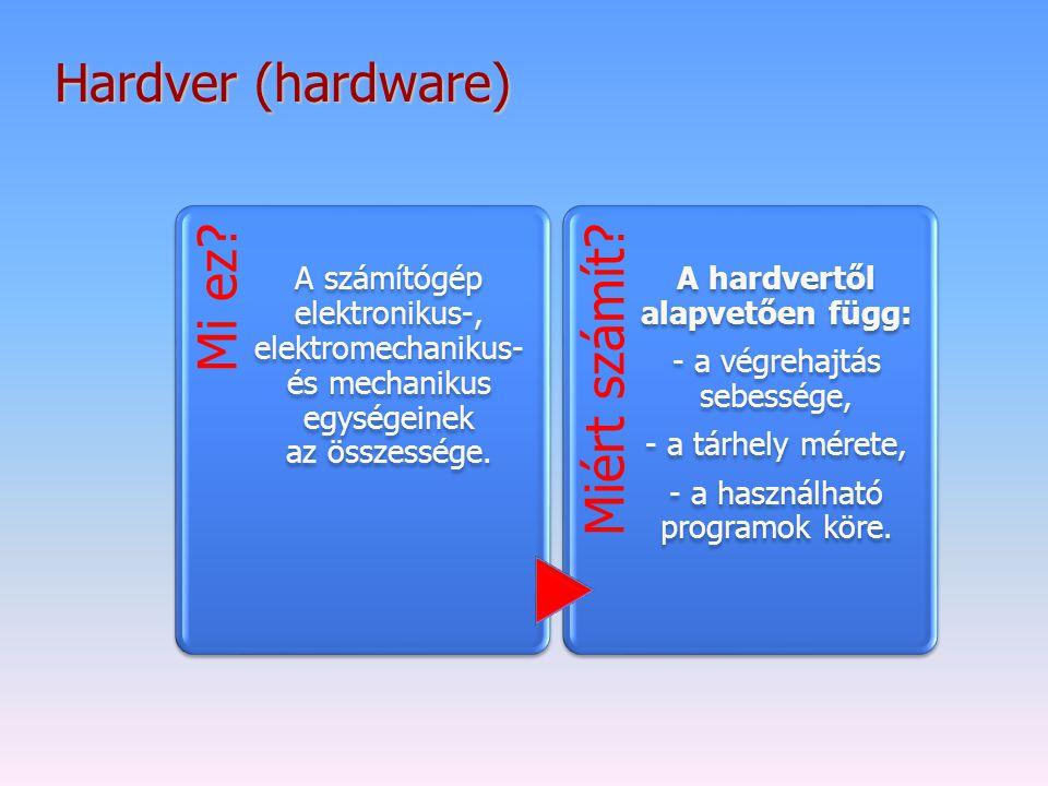 Hardver (hardware) Mi ez? A számítógép elektronikus-, elektromechanikus- és mechanikus egységeinek az összessége. Miért számít? A hardvertől alapvetőe