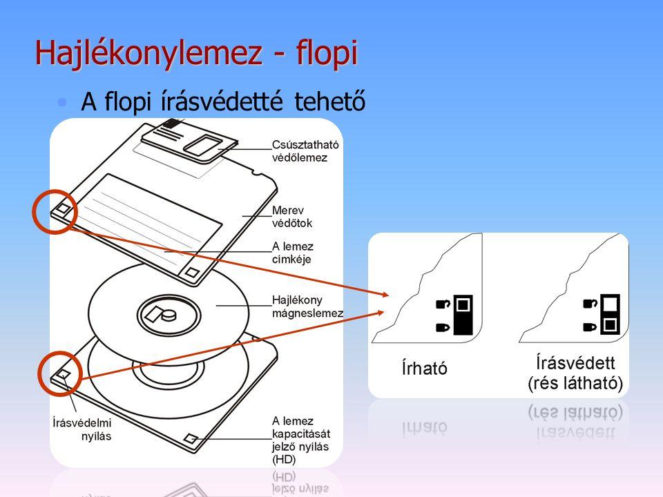 Hajlékonylemez - flopi A flopi írásvédetté tehető
