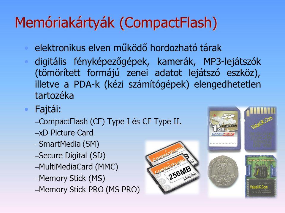 Memóriakártyák (CompactFlash) elektronikus elven működő hordozható tárak digitális fényképezőgépek, kamerák, MP3-lejátszók (tömörített formájú zenei a