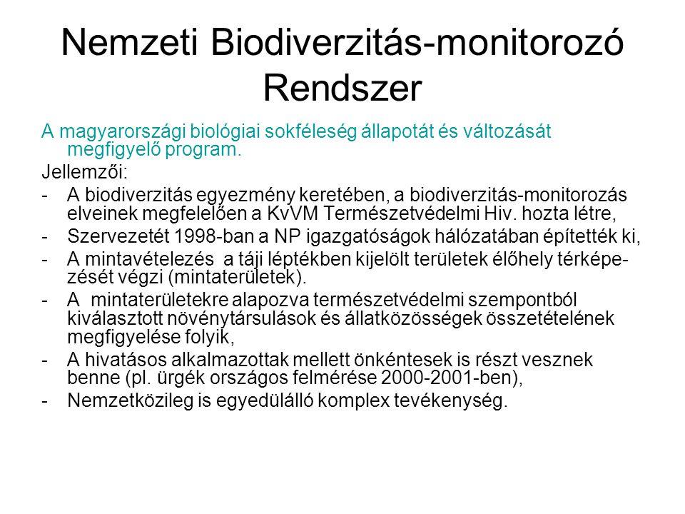 Nemzeti Biodiverzitás-monitorozó Rendszer A monitorozás célja: -az élővilág egységeinek (populációk, társulások, társuláskomplexek) sajátságainak, viselkedésének természetes (közel természetes) állapotban való nyomon követése, -a természetes fluktuációk vagy trendek rögzítése (trend-monitorozás), -figyelemmel kísérni a komolyabb károsodások megelőzé- se céljából azt, hogy az ismert vagy várt környezeti ha- tásra milyen mértékben egyezik meg az élővilág viselkedésének tényleges változása a prognosztizált (várt) változásokkal (hipotézistesztelő monitorozás)