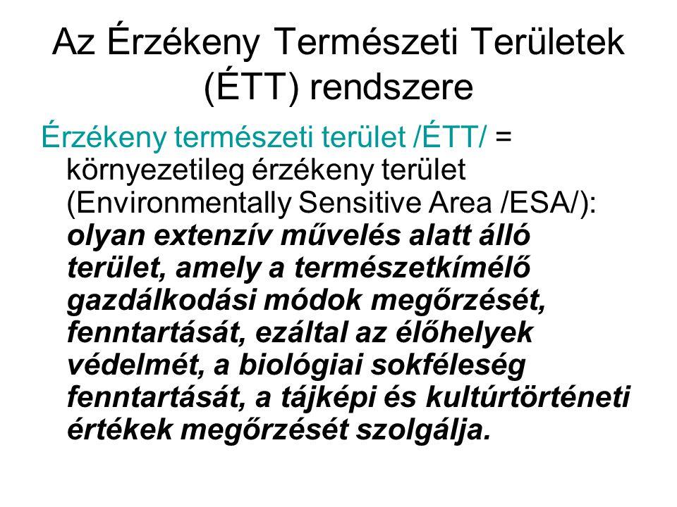 Az Érzékeny Természeti Területek (ÉTT) rendszere Érzékeny természeti terület /ÉTT/ = környezetileg érzékeny terület (Environmentally Sensitive Area /E