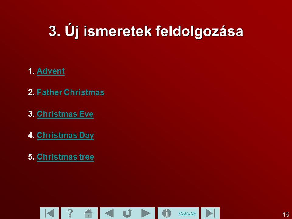FOGALOM 15 3. Új ismeretek feldolgozása 1. AdventAdvent 2.