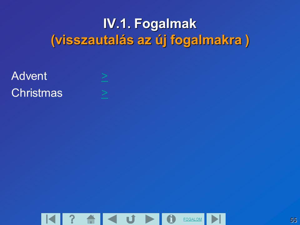 FOGALOM 55 IV.1. Fogalmak (visszautalás az új fogalmakra ) Advent>> Christmas>>