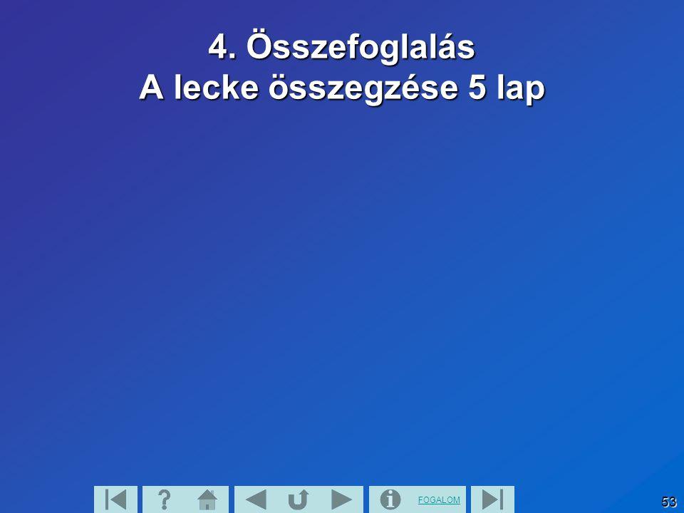 FOGALOM 52 4. Összefoglalás A lecke összegzése 4 lap