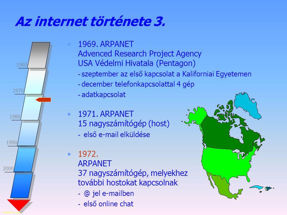 Készítette: B. László 2000 1960 1970 1980 1990 Az internet története 3. 1969. ARPANET Advenced Research Project Agency USA Védelmi Hivatala (Pentagon)