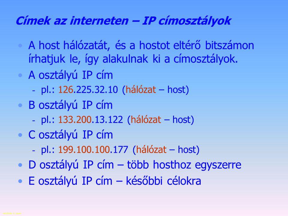 Készítette: B. László Címek az interneten – IP cím Az adatcsomag célbajuttatásához szükség van egy egyedi címre. A TCP/IP modell az IP (Internet Proto