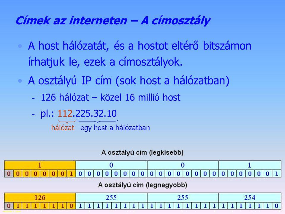 Készítette: B. László Címek az interneten – IP címosztályok A host hálózatát, és a hostot eltérő bitszámon írhatjuk le, így alakulnak ki a címosztályo