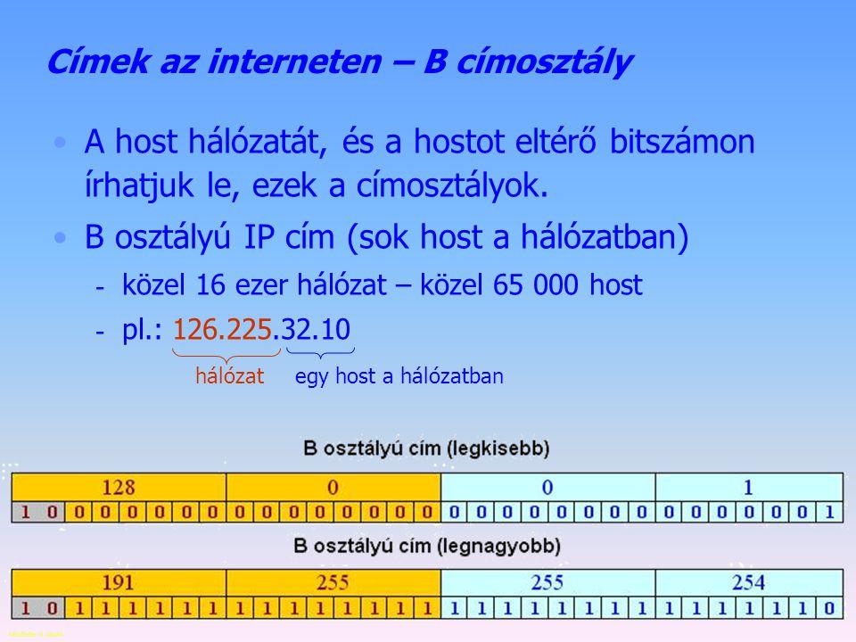 Készítette: B. László Címek az interneten – A címosztály A host hálózatát, és a hostot eltérő bitszámon írhatjuk le, ezek a címosztályok. A osztályú I