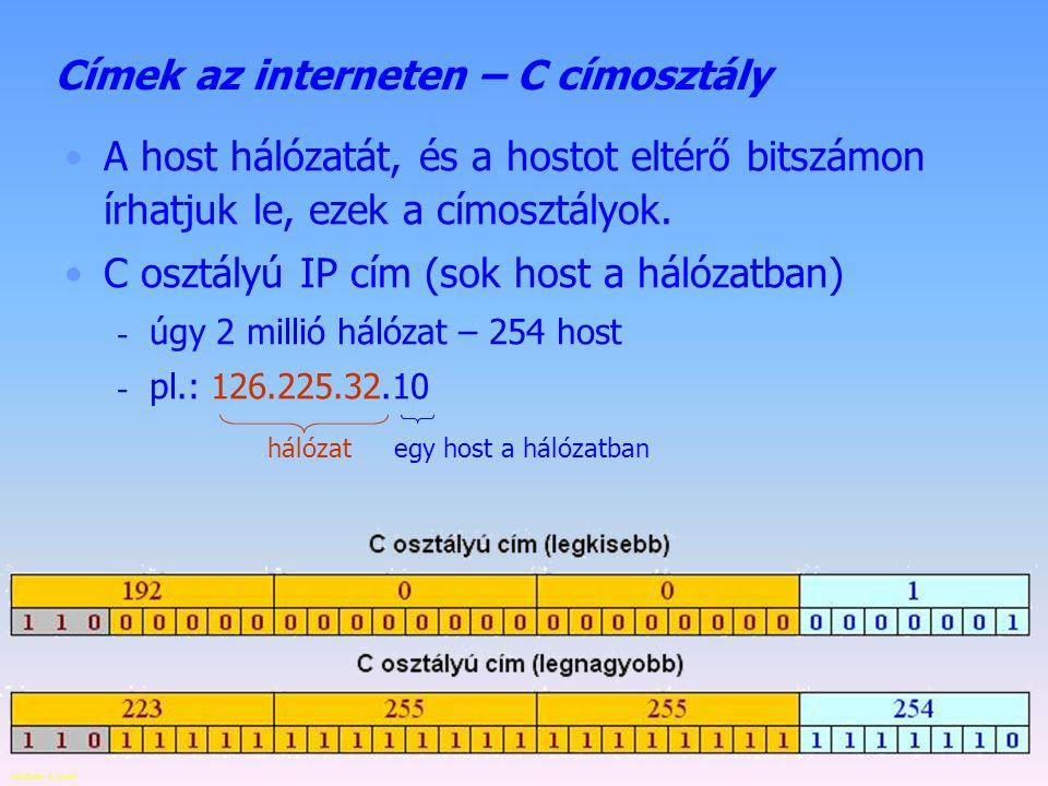 Készítette: B. László Címek az interneten – B címosztály A host hálózatát, és a hostot eltérő bitszámon írhatjuk le, ezek a címosztályok. B osztályú I