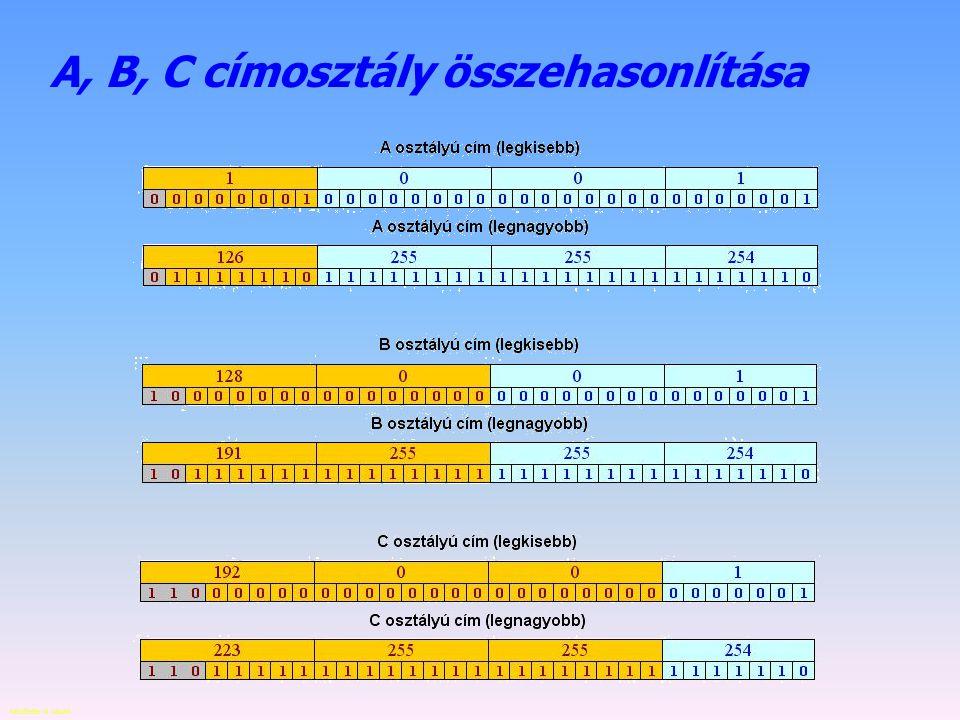 Készítette: B. László Címek az interneten – C címosztály A host hálózatát, és a hostot eltérő bitszámon írhatjuk le, ezek a címosztályok. C osztályú I