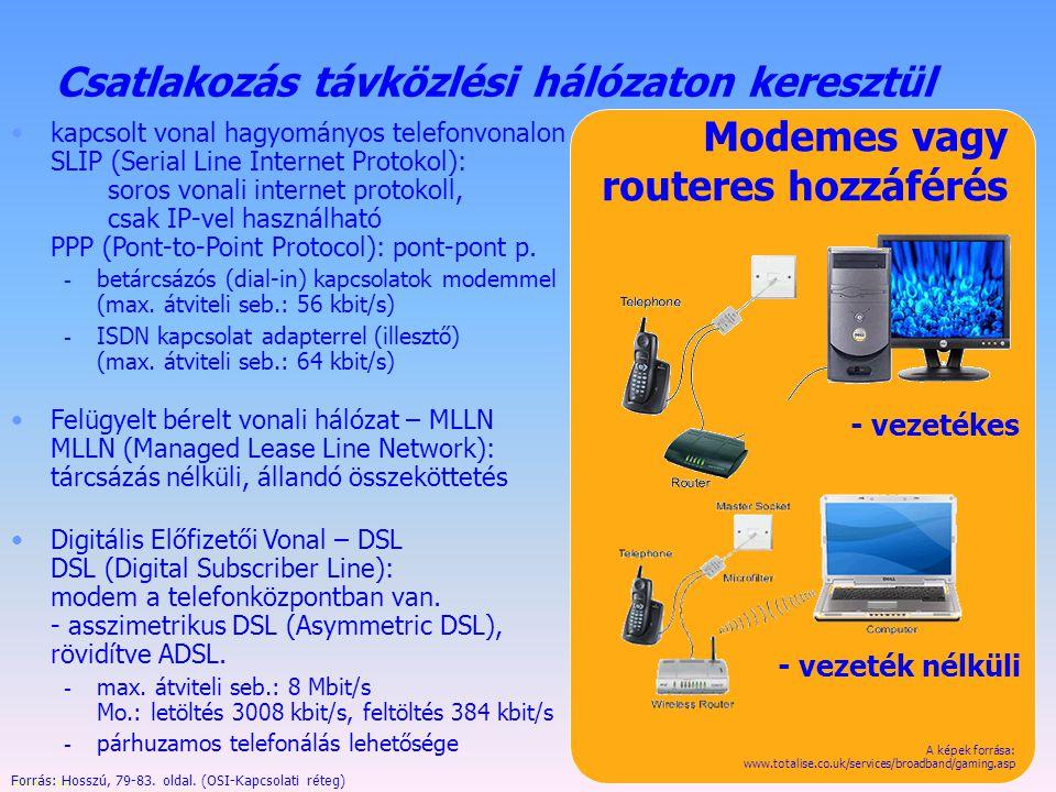 Készítette: B. László Ismert kapcsolódási módok Közvetlen kapcsolat - vezetékes Indirekt hozzáférés Modemes vagy routeres hozzáférés - vezeték nélküli