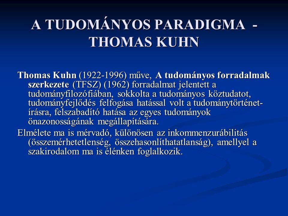 A TUDOMÁNYOS PARADIGMA - THOMAS KUHN Thomas Kuhn (1922-1996) műve, A tudományos forradalmak szerkezete (TFSZ) (1962) forradalmat jelentett a tudományf