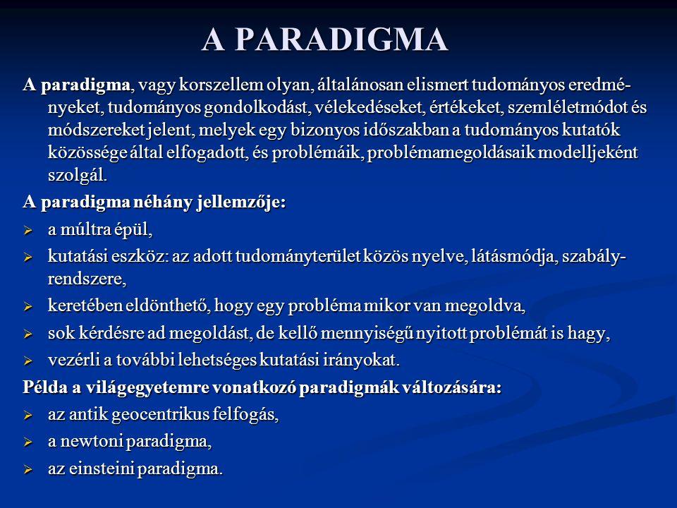 A PARADIGMA A paradigma, vagy korszellem olyan, általánosan elismert tudományos eredmé- nyeket, tudományos gondolkodást, vélekedéseket, értékeket, sze