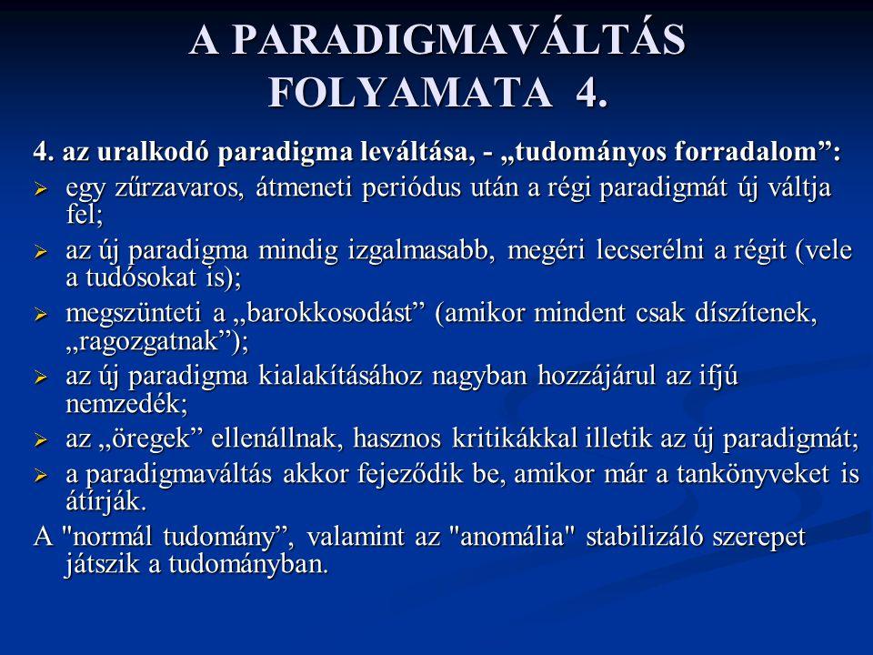 """A PARADIGMAVÁLTÁS FOLYAMATA 4. 4. az uralkodó paradigma leváltása, - """"tudományos forradalom"""":  egy zűrzavaros, átmeneti periódus után a régi paradigm"""