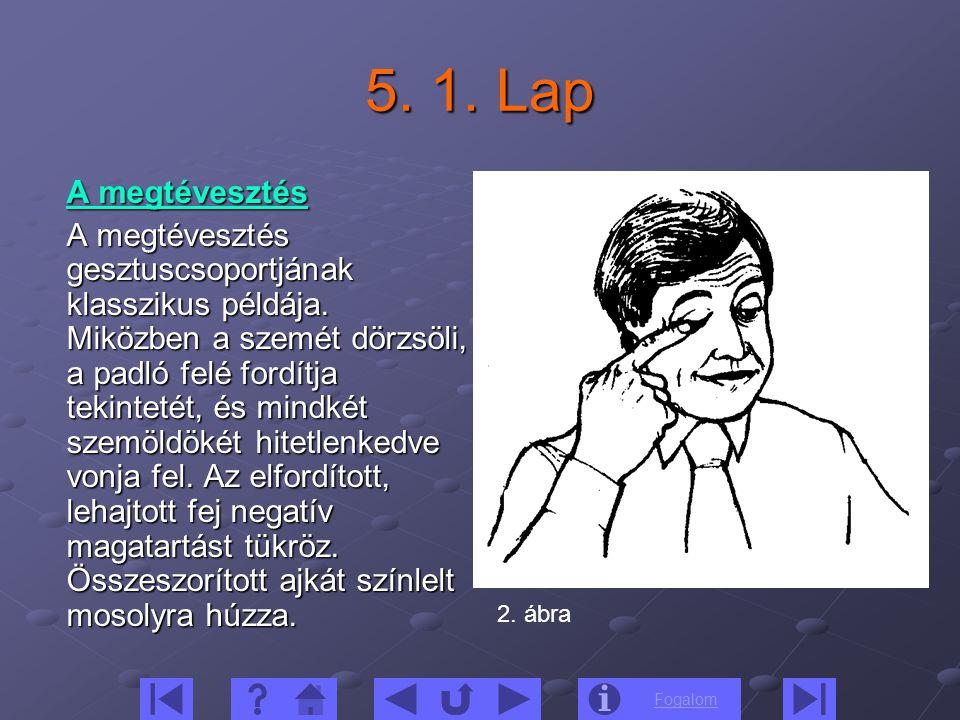 Fogalom 5. 1. Lap A megtévesztés A megtévesztés gesztuscsoportjának klasszikus példája. Miközben a szemét dörzsöli, a padló felé fordítja tekintetét,