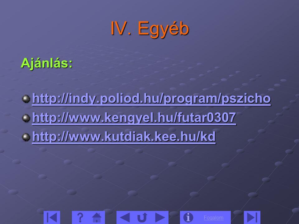 Fogalom IV. Egyéb Ajánlás: http://indy.poliod.hu/program/pszicho http://www.kengyel.hu/futar0307 http://www.kutdiak.kee.hu/kd