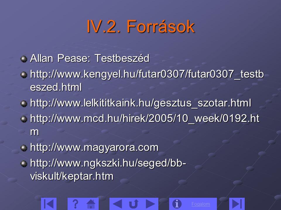 Fogalom IV.2. Források Allan Pease: Testbeszéd http://www.kengyel.hu/futar0307/futar0307_testb eszed.html http://www.lelkititkaink.hu/gesztus_szotar.h