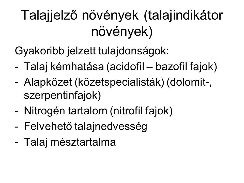 Talajjelző növények (talajindikátor növények) Gyakoribb jelzett tulajdonságok: -Talaj kémhatása (acidofil – bazofil fajok) -Alapkőzet (kőzetspecialist