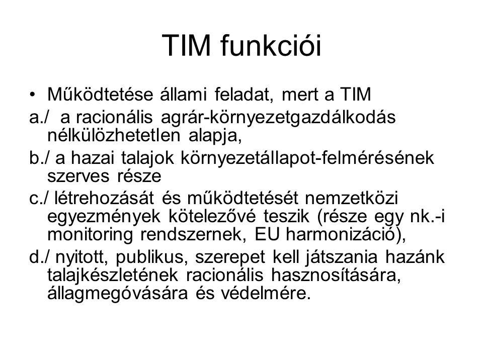 TIM funkciói Működtetése állami feladat, mert a TIM a./ a racionális agrár-környezetgazdálkodás nélkülözhetetlen alapja, b./ a hazai talajok környezet
