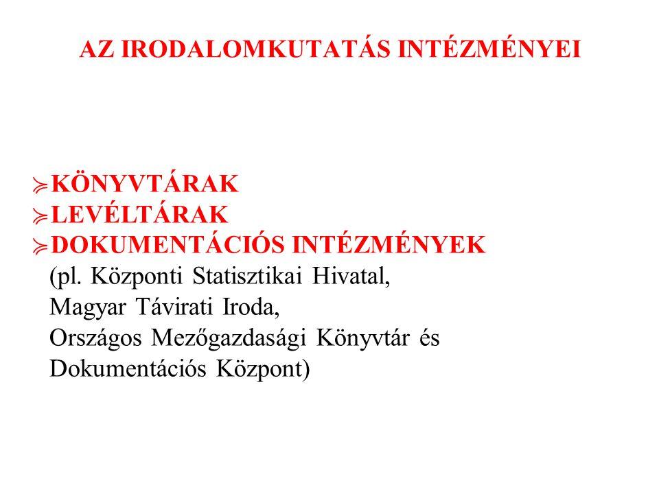 AZ IRODALOMKUTATÁS INTÉZMÉNYEI ≽ KÖNYVTÁRAK ≽ LEVÉLTÁRAK ≽ DOKUMENTÁCIÓS INTÉZMÉNYEK (pl. Központi Statisztikai Hivatal, Magyar Távirati Iroda, Ország