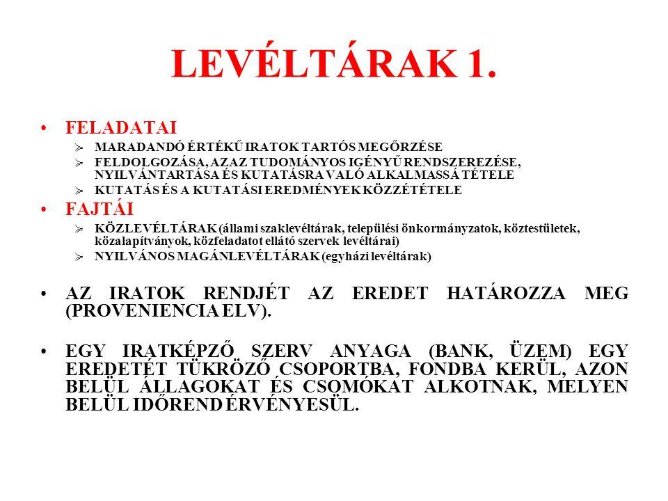 LEVÉLTÁRAK 2.