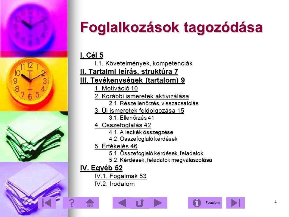 4 Foglalkozások tagozódása I. Cél 5 I.1. Követelmények, kompetenciák II. Tartalmi leírás, struktúra 7 III. Tevékenységek (tartalom) 9 1. Motiváció 10