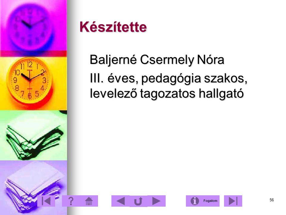 56 Készítette Baljerné Csermely Nóra Baljerné Csermely Nóra III. éves, pedagógia szakos, levelező tagozatos hallgató III. éves, pedagógia szakos, leve