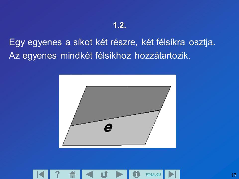 FOGALOM 17 1.2. Egy egyenes a síkot két részre, két félsíkra osztja. Az egyenes mindkét félsíkhoz hozzátartozik.