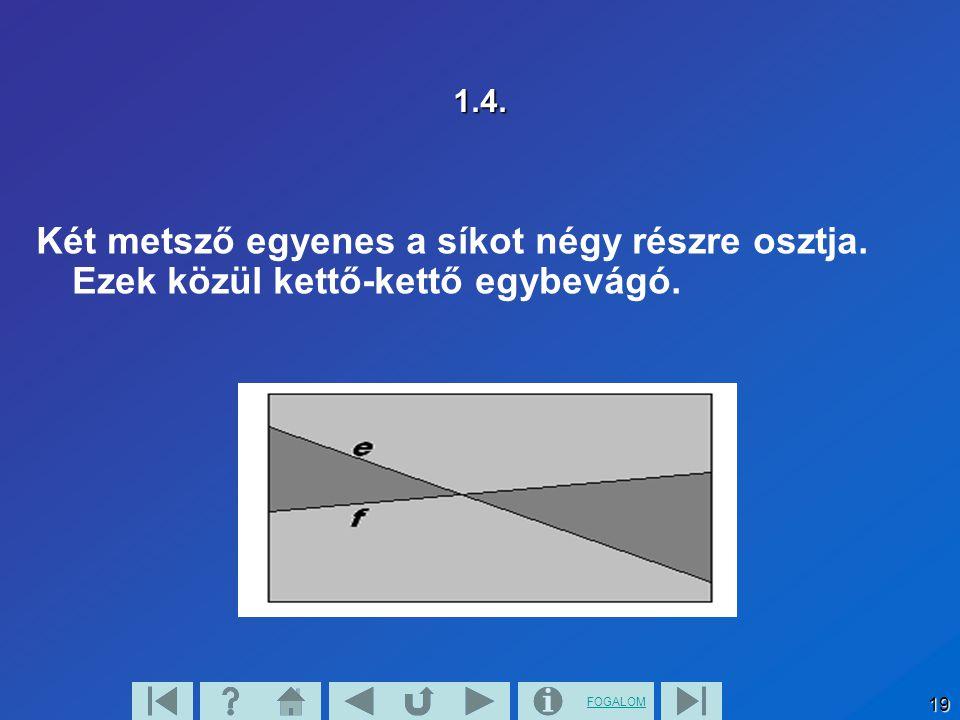 FOGALOM 19 1.4. Két metsző egyenes a síkot négy részre osztja. Ezek közül kettő-kettő egybevágó.