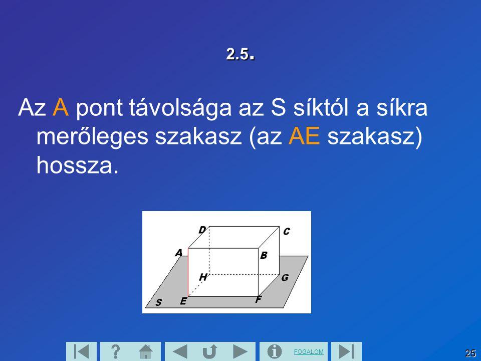 FOGALOM 25 2.5. Az A pont távolsága az S síktól a síkra merőleges szakasz (az AE szakasz) hossza.