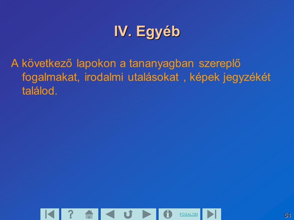FOGALOM 54 IV. Egyéb A következő lapokon a tananyagban szereplő fogalmakat, irodalmi utalásokat, képek jegyzékét találod.