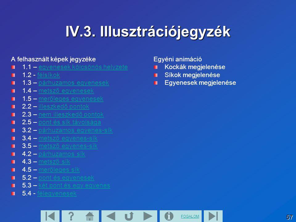 FOGALOM 57 IV.3. Illusztrációjegyzék A felhasznált képek jegyzéke 1.1 – egyenesek kölcsönös helyzeteegyenesek kölcsönös helyzete 1.2 - félsíkokfélsíko